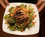 021711tvfishsalad.A blackened-salmon spring salad with ginger sesame salad dressing..BND/TIM VIZER   with Sue SunMag story