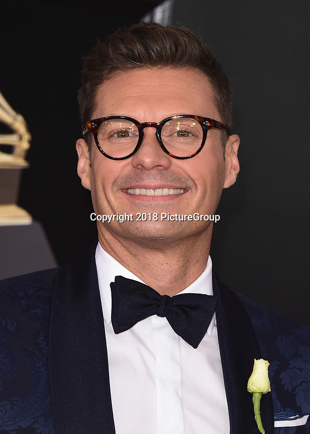 NEW YORK - JANUARY 28:  Ryan Seacrest at the 60th Annual Grammy Awards at Madison Square Garden on January 28, 2018 in New York City. (Photo by Scott Kirkland/PictureGroup)