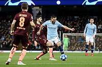 Manchester City's Ilkay Gundogan is tackled by 1899 Hoffenheim's Florian Grillitsch<br /> <br /> Photographer Rich Linley/CameraSport<br /> <br /> UEFA Champions League Group F - Manchester City v TSG 1899 Hoffenheim - Wednesday 12th December 2018 - The Etihad - Manchester<br />  <br /> World Copyright © 2018 CameraSport. All rights reserved. 43 Linden Ave. Countesthorpe. Leicester. England. LE8 5PG - Tel: +44 (0) 116 277 4147 - admin@camerasport.com - www.camerasport.com