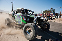 Luke McMillin Class 1 arriving at finish of 2012 San Felipe Baja 250, San Felipe, Baja California, Mexico.  4th place overall finisher.