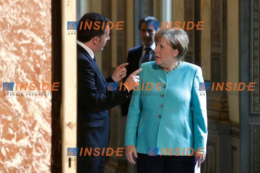 Matteo Renzi e Angela Merkel<br /> Roma 05-05-2016 Palazzo Chigi. Il Premier italiano incontra la Cancelliera tedesca.<br /> Italian premier meets the Deutch Cancellor.<br /> Photo Samantha Zucchi Insidefoto
