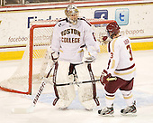 Brian Billett (BC - 1), Kyle Bigos (Merrimack - 3) - The visiting Merrimack College Warriors tied the Boston College Eagles at 2 on Sunday, January 8, 2011, at Kelley Rink/Conte Forum in Chestnut Hill, Massachusetts.