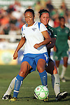01 Aug 2009: Angela Hucles (front) of the Breakers shields the ball from Melissa Tancredi (behind) of Saint Louis Athletica.  Saint Louis Athletica defeated the visiting Boston Breakers 1-0 in a regular season Women's Professional Soccer game at Anheuser-Busch Soccer Park, in Fenton, MO.