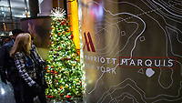 NEW YORK, NY - DECEMBER 1: People visit the Marriott International hotel in Times Square on December 1, 2018 in New York. The largest hotel chain in the world, The Marriott International, has announced that it had suffered a massive data breach that affected round 500 million customers worldwide. (Photo by Eduardo MunozAlvarez/VIEWpress)