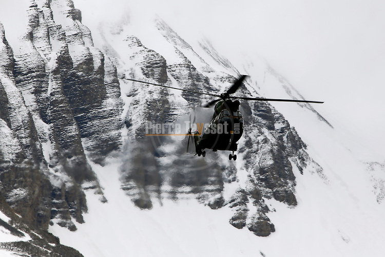 An helicopter arrives at the Operational Centre of the rescue operations of the crash of the Germanwings Airplane A320 in Seyne les Alpes, France on March 25, 2015.