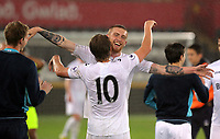 Pictured: (L-R) George Byers and Oliver McBurnie of Swansea City celebrate their win after the game Monday 15 May 2017<br />