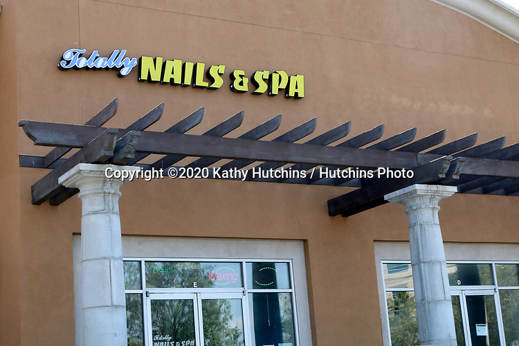 LOS ANGELES - APR 11:  Totally Nails & Spa Storefront at the Businesses reacting to COVID-19 at the Hospitality Lane on April 11, 2020 in San Bernardino, CA