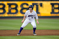 Zack Collins (8) of the Winston-Salem Dash takes his lead off of second base against the Buies Creek Astros at BB&T Ballpark on April 13, 2017 in Winston-Salem, North Carolina.  The Dash defeated the Astros 7-1.  (Brian Westerholt/Four Seam Images)