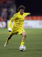 7 May 2005.  Columbus Crew defender Frankie Hejduk (2) punts the ball forward at RFK Stadium in Washington, DC.