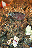 On a street market. On a street market. Dry cured ham. From wild boar. Bordeaux city, Aquitaine, Gironde, France