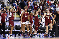 GREENSBORO, NC - MARCH 06: Milan Bolden-Morris #23 and Georgia Pineau #5 of Boston College celebrate on the bench during a game between Boston College and Duke at Greensboro Coliseum on March 06, 2020 in Greensboro, North Carolina.