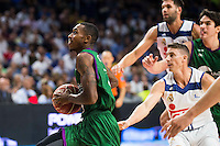 Real Madrid's player Jaycee Carroll and Felipe Reyes and Unicaja Malaga's player Jamar Smith during match of Liga Endesa at Barclaycard Center in Madrid. September 30, Spain. 2016. (ALTERPHOTOS/BorjaB.Hojas) /NORTEPHOTO.COM