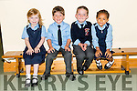 NEW CLASS: Ms Geraldine Lynch's  new junior infants who started school at Scoil Chriost Ri, Dromnacurrow, Causeway this year are Aubrey Canty, Evan Duggan, Conor Walshe, Joanne Canty