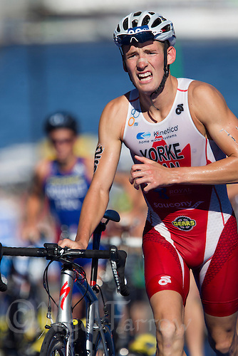 25 AUG 2013 - STOCKHOLM, SWE - Andrew Yorke (CAN) of Canada leaves transition for the start of the bike during the men's ITU 2013 World Triathlon Series round in Gamla Stan, Stockholm, Sweden (PHOTO COPYRIGHT © 2013 NIGEL FARROW, ALL RIGHTS RESERVED)