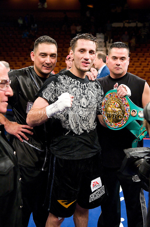 Uncasville, CT - June 7th, 2008: Sergio Mora  in the ring after his WBC Super Welterweight Championship fight  against Vernon Forrest   at the Mohegan Sun Casino. Mora upset Forrest by taking his belt away with a split decision. Photo by Thierry Gourjon.