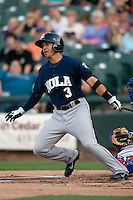 New Orleans Zephyrs outfielder Chris Aguila #3 heads to first during the Pacific Coast League baseball game against the Round Rock Express on April 30, 2012 at The Dell Diamond in Round Rock, Texas. The Zephyrs defeated the Express 5-3. (Andrew Woolley / Four Seam Images)