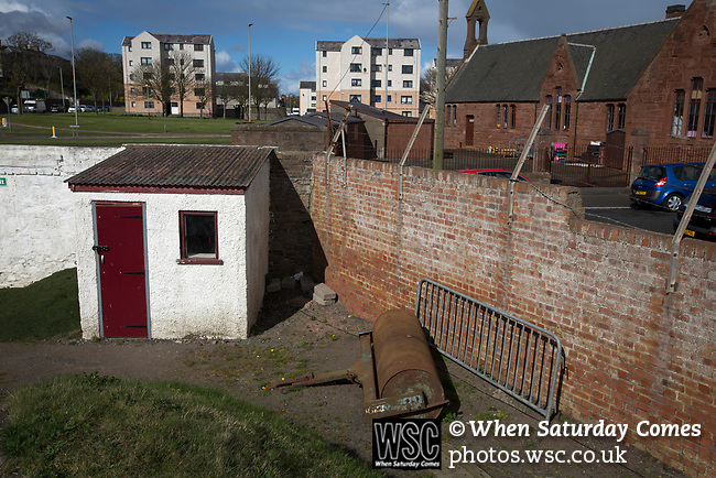 Arbroath 0 Edinburgh City 1, 15/03/2017. Gayfield Park, SPFL League 2. The groundsman's hut at Gayfield Park pictured as Arbroath hosted Edinburgh City (in yellow) in an SPFL League 2 fixture. The newly-promoted side from the Capital were looking to secure their place in SPFL League 2 after promotion from the Lowland League the previous season. They won the match 1-0 with an injury time goal watched by 775 spectators to keep them 4 points clear of bottom spot with three further games to play. Photo by Colin McPherson.
