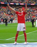 Ashley Fletcher of Barnsley celebrates their win in the Johnstone's Paint Trophy Final match between Oxford United and Barnsley at Wembley Stadium, London, England on 3 April 2016. Photo by Alan  Stanford / PRiME Media Images.