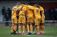 Mersthham players huddle during Hornchurch vs Merstham, BetVictor League Premier Division Football at Hornchurch Stadium on 15th February 2020