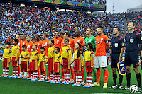 SAO PAULO - BRASIL -09-07-2014. Jugadores de Holanda (NED) durante los actos protocolarios previo al partido de las semifinales contra Argentina (ARG) por la Copa Mundial de la FIFA Brasil 2014 jugado en el estadio Arena de Sao Paulo./ Players of Netherlands (NED) during the formal events prior the match of the Semifinal against Argentina (ARG) for the 2014 FIFA World Cup Brazil played at Arena de Sao Paulo stadium. Photo: VizzorImage / Alfredo Gutiérrez / Contribuidor