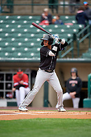 Charlotte Knights Ryan Goins (1) bats during an International League game against the Rochester Red Wings on June 16, 2019 at Frontier Field in Rochester, New York.  Rochester defeated Charlotte 11-5 in the first game of a doubleheader that was a continuation of a game postponed the day prior due to inclement weather.  (Mike Janes/Four Seam Images)