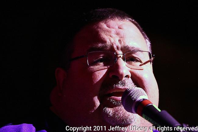 November 3, 2011 New York: Singer / Musician John Gros of Papa Grows Funk peforms Hiro Ballroom on November 3, 2011 in New York.