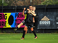 Andy Bevin congratulates Mario Barcia on his goal during the 2018 OFC Champions League Quarterfinal between Team Wellington and Lae City Dwellers FC at David Farrington Park in Wellington, New Zealand on Saturday, 7 April 2018. Photo: Dave Lintott / lintottphoto.co.nz