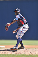 Rome Braves starting pitcher Touki Toussaint (20) delivers a pitch during a game against the Rome Braves at McCormick Field on April 17, 2016 in Asheville, North Carolina. The Tourists defeated the Braves 12-5. (Tony Farlow/Four Seam Images)