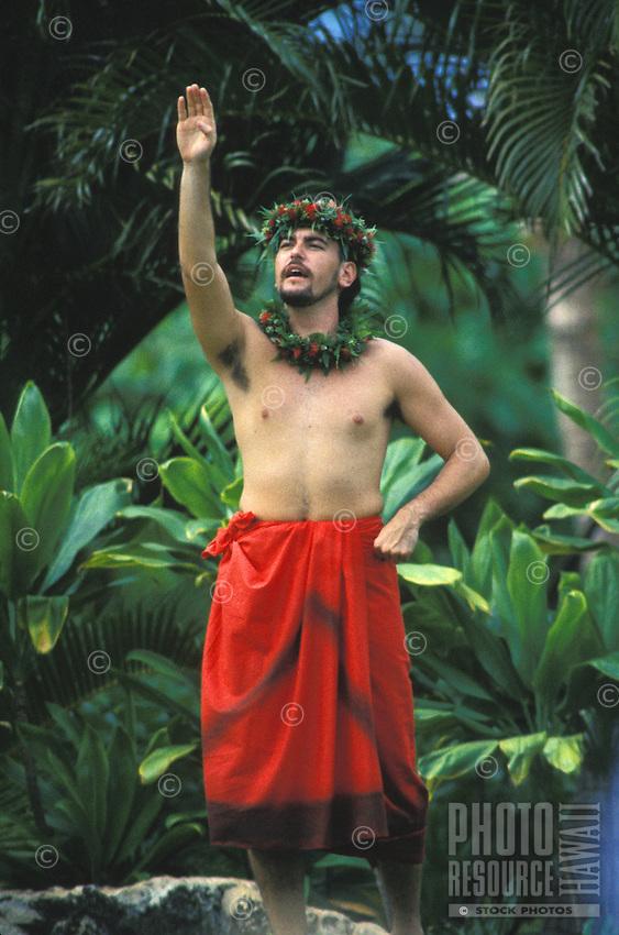 Manu Boyd, dancing hula and chanting  (oli) at Lanikuhonua, Oahu