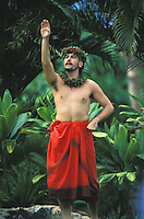 Manu Boyd, dancing hula and chanting  (oli) at Lanikuhonua, Oahu