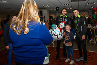 Pictured: Borja Baston and Bersant Celina of Swansea City during the Swansea City Christmas part at the Liberty Stadium in Swansea, Wales, UK. Thursday 05 December 2019
