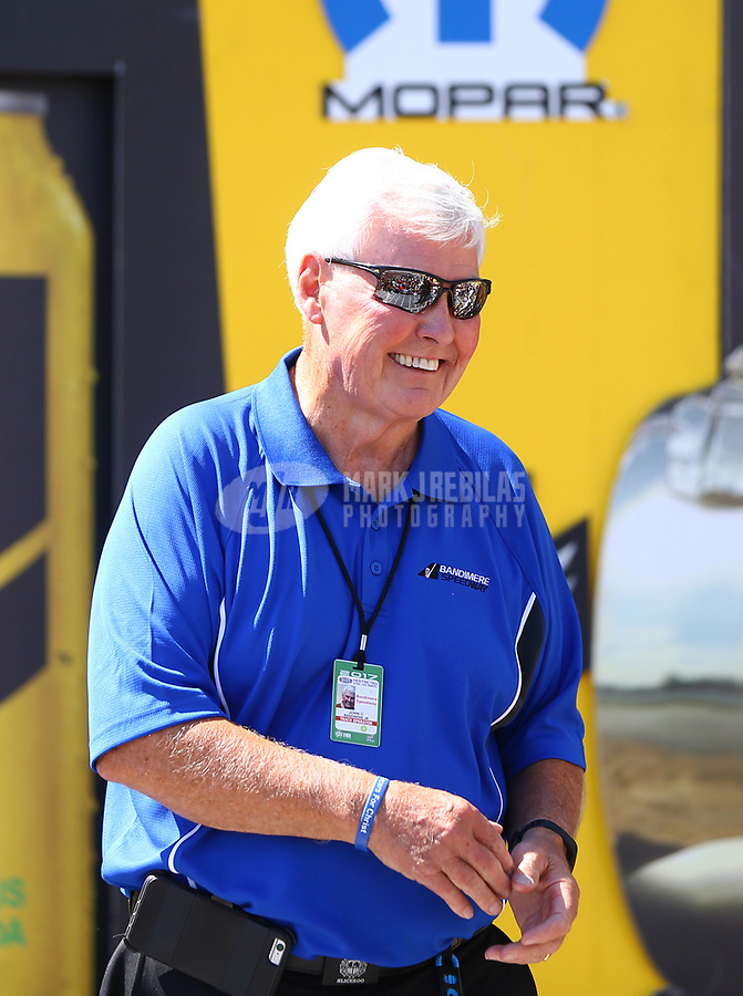 Jul 23, 2017; Morrison, CO, USA; Track president John Bandimere during the NHRA Mile High Nationals at Bandimere Speedway. Mandatory Credit: Mark J. Rebilas-USA TODAY Sports