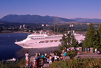 Regal Princess Cruise Ship leaving Vancouver Harbour under Lions Gate Bridge (at First Narrows), Vancouver, British Columbia, Canada, en route to Alaska