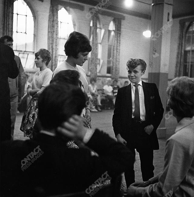 Young Teddy Boy, youth club, church hall, Finsbury Park, London, Great Britain, 1961