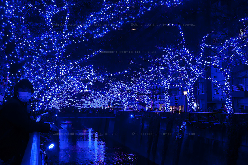 Blue LED Christmas light display over the river in Nakameguro, Tokyo, Japan. Friday November 28th 2014