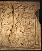 Sacrifice of a bull, ram and boar by the legion to the Roman gods for their victory, with a musician playing the aulos and a man pouring libation on an altar, detail from the Bridgeness Stone, or Bridgeness Distance Slab, c. 142 AD, a Roman carved stone with inscription recording the section of the Antonine Wall (built across the width of Scotland) built by the Second Augustan Legion, found in 1868 at Bo'Ness, at the Tullie House Museum and Art Gallery, Carlisle, Cumbria, England. This is a copy of the original stone, which is in the National Museum of Antiquities of Scotland. Carlisle sits at the Western end of Hadrian's Wall. Hadrian's Wall was built 73 miles across Britannia, now England, 122-128 AD, under the reign of Emperor Hadrian, ruled 117-138, to mark the Northern extent of the Roman Empire and guard against barbarian attacks from the Picts to the North. The wall was fortified with milecastles with 2 turrets in between, and a fort about every 5 Roman miles. Picture by Manuel Cohen