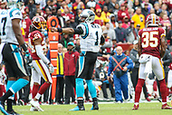 Landover, MD - October 14, 2018: Carolina Panthers quarterback Cam Newton (1) celebrates after getting a first down during the  game between Carolina Panthers and Washington Redskins at FedEx Field in Landover, MD.   (Photo by Elliott Brown/Media Images International)