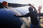 Fishermen cast out their net in the Pacific Ocean near the town of Boca del Cielo in the southern state of Chiapas, Mexico