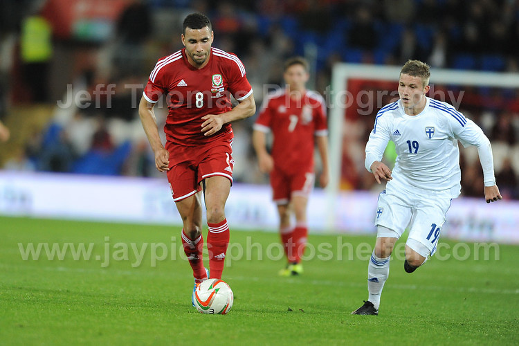 Hal Robson-Kanu of Wales is too fast and breaks away from Alexander Ring of Finland during the Wales v Finland Vauxhall International friendly football match at the Cardiff City stadium, Cardiff, Wales. Photographer - Jeff Thomas Photography. Mob 07837 386244. All use of pictures are chargeable.