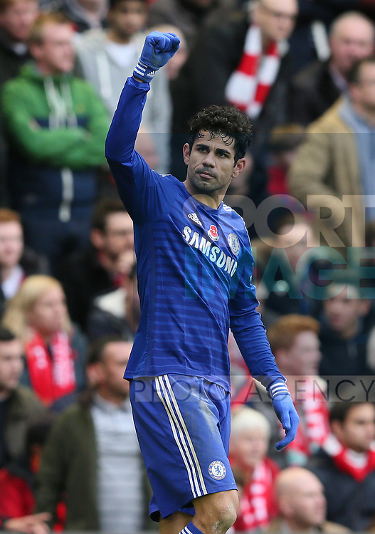 Diego Costa of Chelsea celebrates his winning goal - Barclays Premier League - Liverpool vs Chelsea - Anfield Stadium - Liverpool - England - 8th November 2014  - Picture Simon Bellis/Sportimage