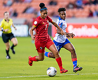 HOUSTON, TX - FEBRUARY 3: Maria Guevara #7 of Panama dribbles during a game between Panama and Haiti at BBVA Stadium on February 3, 2020 in Houston, Texas.