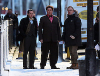 Pictured L-R: Elijah Wood with Celyn Jones rehearsing a scene. Tuesday 11 February 2014<br />
