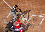 28 September 2014: Miami Marlins catcher Jacob Realmuto in action against the Washington Nationals for the last game of the regular season at Nationals Park in Washington, DC. The Nationals shut out the Marlins with a 1-0 no-hitter going to Nationals pitcher Jordan Zimmermann. Mandatory Credit: Ed Wolfstein Photo *** RAW (NEF) Image File Available ***