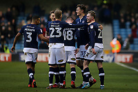 Millwall players congratulate Aiden O'Brien (far right) after scoring their first goal during Millwall vs Preston North End, Sky Bet EFL Championship Football at The Den on 13th January 2018