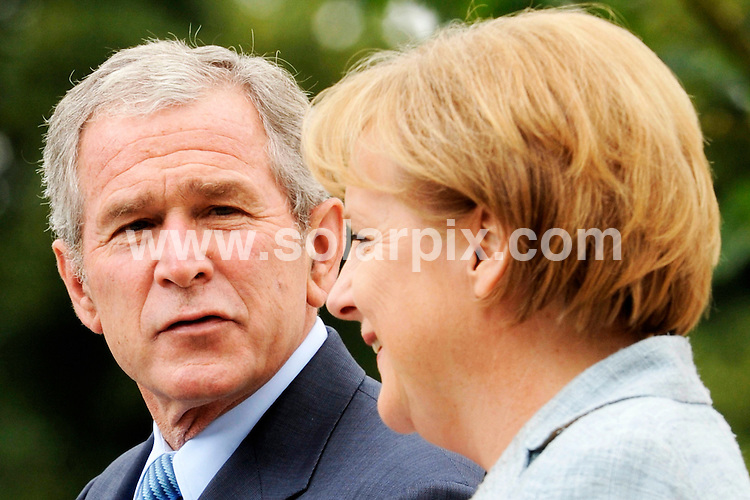 **ALL ROUND PICTURES FROM SOLARPIX.COM**.**SYNDICATION RIGHTS FOR UK AND SPAIN ONLY**.The US president George .W. Bush during his last Europe state visit the Castle in Meseberg in Brandenburg ahead of Bush's visit Angela Merkel called for further cuts in transatlantic trade barriers. .JOB REF:6611-CPR/Michael Urban  DATE:11_06_08.**MUST CREDIT SOLARPIX.COM OR DOUBLE FEE WILL BE CHARGED* *UNDER NO CIRCUMSTANCES IS THIS IMAGE TO BE REPRODUCED FOR ANY ONLINE EDITION WITHOUT PRIOR PERMISSION*
