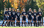 24 November 2007: Notre Dame starters (from left): Elise Weber, Carrie Dew, Courtney Rosen, Michele Weissenhofer, Brittany Bock, Lauren Fowlkes, Amanda Clark, and Amanda Cinalli. The University of Notre Dame Fighting Irish defeated University of North Carolina Tar Heels 3-2 at Fetzer Field in Chapel Hill, North Carolina in a Third Round NCAA Division I Womens Soccer Tournament game.