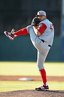 Lowell Spinners pitcher Reed Reilly (47) delivers a pitch during a game against the Batavia Muckdogs on July 16, 2014 at Dwyer Stadium in Batavia, New York.  Lowell defeated Batavia 6-4.  (Mike Janes/Four Seam Images)