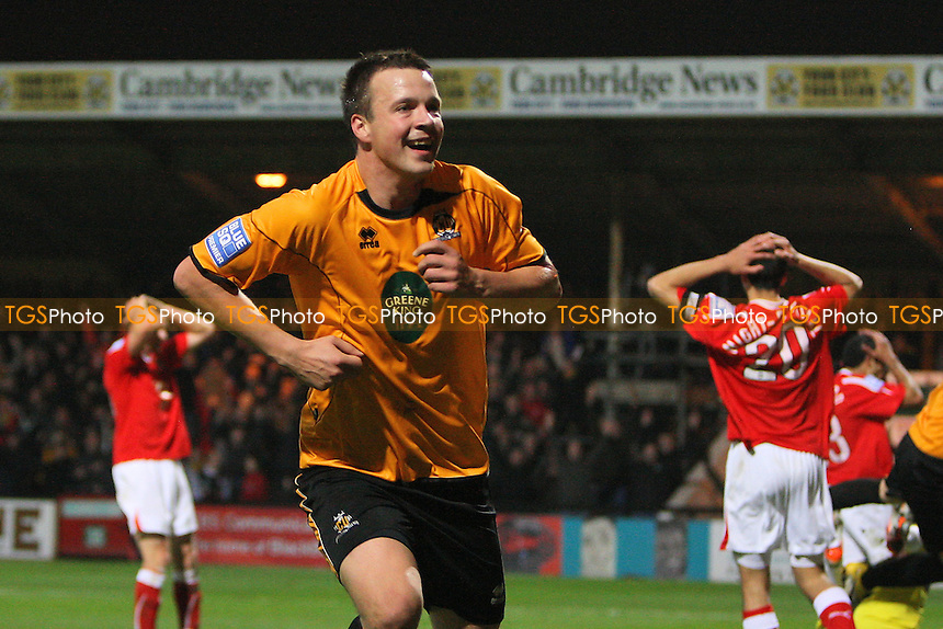 Josh Coulson of Cambridge United scores the second goal for his team and celebrates - Cambridge United vs Wrexham - FA Cup 1st Round Football at The R Costings Abbey Stadium, Cambridge - 11/11/11 - MANDATORY CREDIT: Gavin Ellis/TGSPHOTO - Self billing applies where appropriate - 0845 094 6026 - contact@tgsphoto.co.uk - NO UNPAID USE.