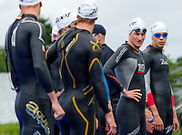 04 JUL 2010 - ATHLONE, IRL - Will Clarke (GBR) checks the opposition before the start of the European Elite Mens Triathlon Championships (PHOTO (C) NIGEL FARROW)