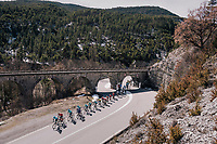 peloton 'under the bridge'<br /> <br /> 76th Paris-Nice 2018<br /> stage 6: Sisteron &gt; Vence (198km)